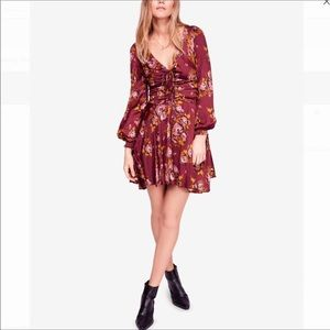 Free People Morning Light Floral Ruched Mini Dress